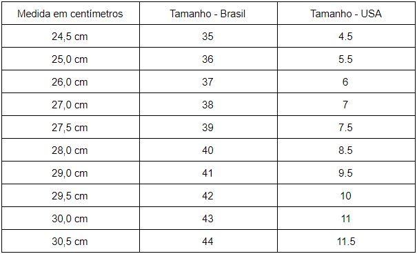 tabela de tamanho de tênis